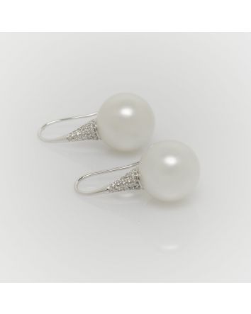 ROUND AUSTRALIAN SOUTH SEA PEARL EARRINGS ES04 WHITE GOLD