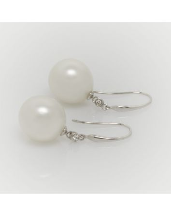 NEAR ROUND AUSTRALIAN SOUTH SEA PEARL EARRINGS EA201 WHITE GOLD