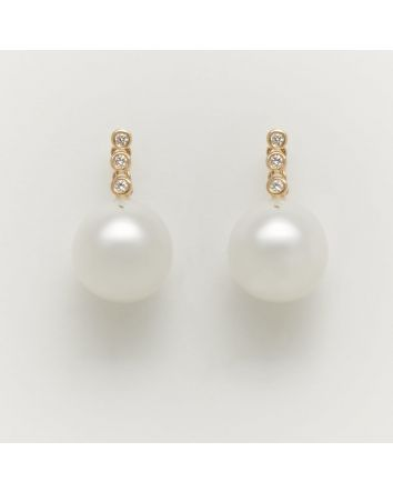 NEAR ROUND AUSTRALIAN SOUTH SEA PEARL EARRINGS EA202 YELLOW GOLD