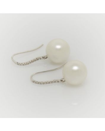 ROUND AUSTRALIAN SOUTH SEA PEARL EARRINGS EY05 WHITE GOLD