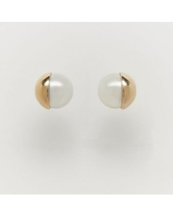 ROUND AUSTRALIAN SOUTH SEA PEARL EARRINGS EY06 YELLOW GOLD