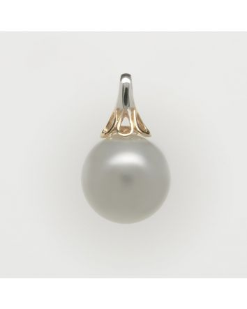 ROUND AUSTRALIAN SOUTH SEA PEARL PENDANT PY08 TWO TONE