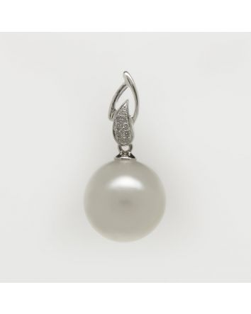 NEAR ROUND AUSTRALIAN SOUTH SEA PEARL PENDANT PA203 WHITE GOLD