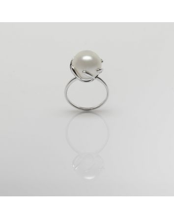 ROUND AUSTRALIAN SOUTH SEA PEARL RING RE102 WHITE GOLD