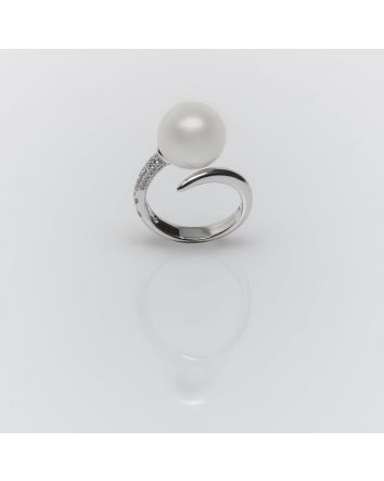 ROUND AUSTRALIAN SOUTH SEA PEARL RING RS04 WHITE GOLD