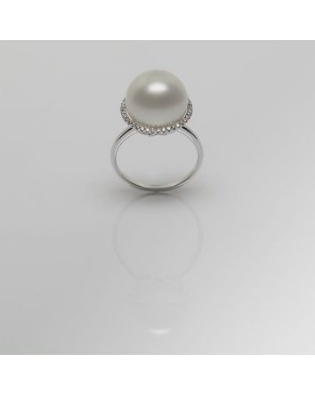 ROUND AUSTRALIAN SOUTH SEA PEARL RING RY05 WHITE GOLD