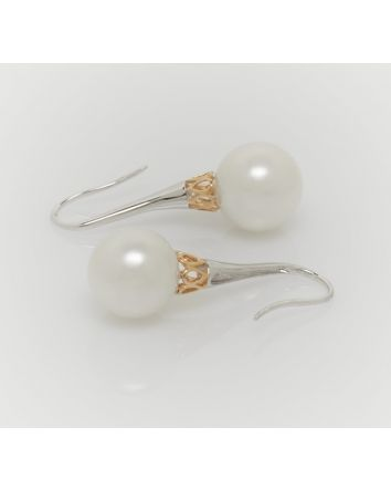 ROUND AUSTRALIAN SOUTH SEA PEARL EARRINGS EY08 TWO TONE