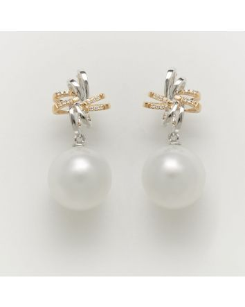 ROUND AUSTRALIAN SOUTH SEA PEARL EARRINGS ES01 TWO TONE