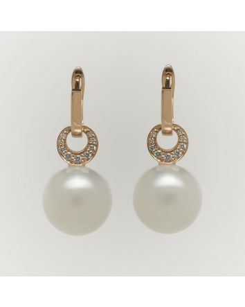 ROUND AUSTRALIAN SOUTH SEA PEARL EARRINGS ES02 YELLOW GOLD