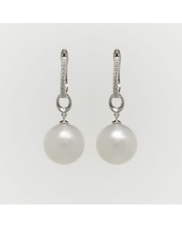 ROUND AUSTRALIAN SOUTH SEA PEARL EARRINGS ES03 WHITE GOLD