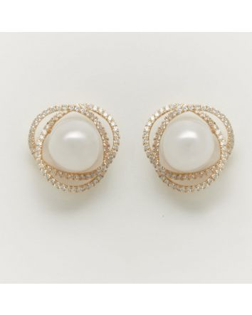 ROUND AUSTRALIAN SOUTH SEA PEARL EARRINGS ES05 YELLOW GOLD