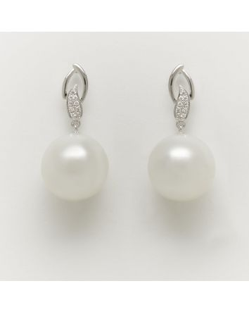 NEAR ROUND AUSTRALIAN SOUTH SEA PEARL EARRINGS EA203 WHITE GOLD
