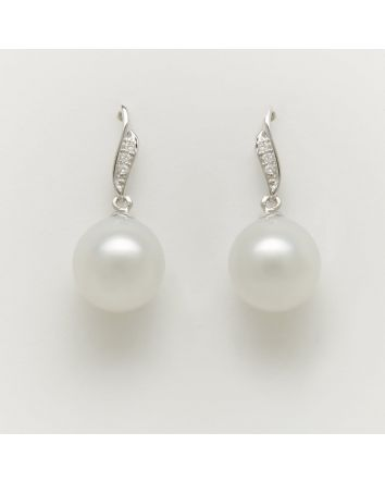 NEAR ROUND AUSTRALIAN SOUTH SEA PEARL EARRINGS EA204 WHITE GOLD