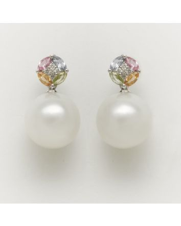 ROUND AUSTRALIAN SOUTH SEA PEARL EARRINGS EY02 WHITE GOLD