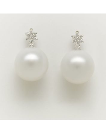 ROUND AUSTRALIAN SOUTH SEA PEARL EARRINGS EY03 WHITE GOLD