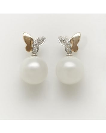 ROUND AUSTRALIAN SOUTH SEA PEARL EARRINGS EY04 TWO TONE