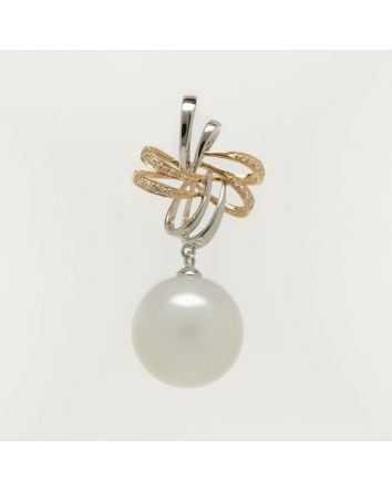 ROUND AUSTRALIAN SOUTH SEA PEARL PENDANT PS01 TWO TONE