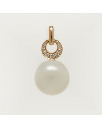 ROUND AUSTRALIAN SOUTH SEA PEARL PENDANT PS02 YELLOW GOLD