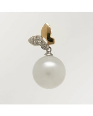 ROUND AUSTRALIAN SOUTH SEA PEARL PENDANT PY04 TWO TONE