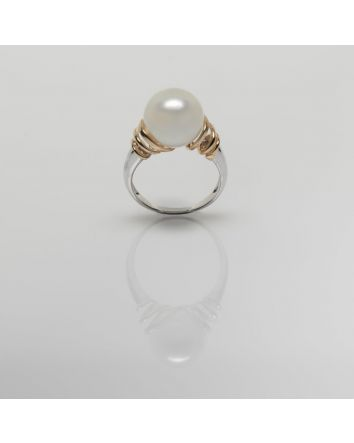 ROUND AUSTRALIAN SOUTH SEA PEARL RING RY08 TWO TONE