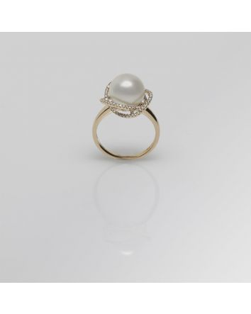 ROUND AUSTRALIAN SOUTH SEA PEARL RING RS05 YELLOW GOLD